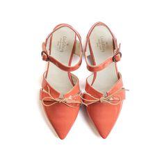 April coral sandals orange flats orange spring shoes