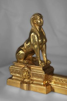 Antique firedog with sphinges decoration in golden bronze - Firedogs, andirons Sphinx, Human Head, Art Decor, Decoration, Bronze, Architectural Antiques, Empire Style, Giza, Mythical Creatures