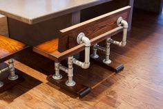 Industrial Pipe and Hardwood Bench: