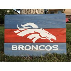 One of a kind Denver Broncos wall art piece. It measures 16x 22 Made of beetle kill pine and various stains and paints.