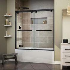 DreamLine Encore 60 in. x 58 in. Frameless Sliding Tub Door in Satin Black Grey Bathroom Tiles, Tub Tile, Modern Bathroom, Small Bathroom, Bathroom Ideas, Bathroom Cabinets, Master Bathroom, Neutral Bathroom, Big Bathrooms