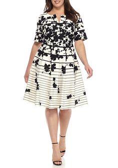 Julian Taylor Plus Size Floral Stripe Dress