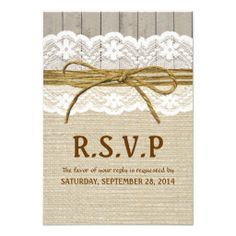 >>>Cheap Price Guarantee          Ivory Lace & Twine Bow Burlap & Wood RSVP Invitation           Ivory Lace & Twine Bow Burlap & Wood RSVP Invitation We provide you all shopping site and all informations in our go to store link. You will see low prices onThis Deals          ...Cleck Hot Deals >>> http://www.zazzle.com/ivory_lace_twine_bow_burlap_wood_rsvp_invitation-161991547711672836?rf=238627982471231924&zbar=1&tc=terrest