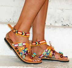 Boho Sandals/ Handmade Greek Leather Sandals/ by magosisters