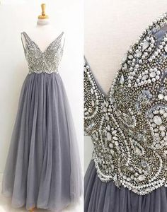 Gray tulle long V neck beaded and sequins formal prom dress