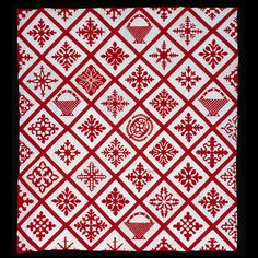 Wow! Red and white papercut appliqué quilt; c. 1855, NJ