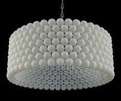 luminária com bolinha de Ping Pong
