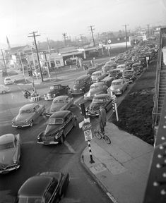 Traffic jam at Venice Boulevard and La Cienega Boulevard in Los Angeles, California - Los Angeles Daily News photo 1953.