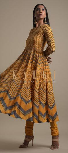 Buy Online from the link below. We ship worldwide (Free Shipping over US$100)  Click Anywhere to Tag Honey Yellow Anarkali Suit In Crepe With Chevron Print Online - Kalki Fashion Honey yellow anarkali suit in crepe.Enhanced with chevron print along with sequins and beads.