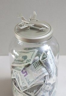 If you are saving for your Honeymoon or any other special trip - use this adorable jar to help make saving loads of fun! Glue a cute toy atop a gallon jar - spray Krylon paint and your done! Add a little glass etching if you please!