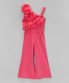 Look what I found on #zulily! Hot Pink Ruffle Jumpsuit - Infant & Toddler #zulilyfinds
