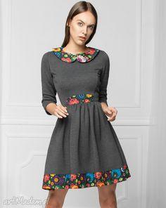 74bed57f50 Sukienka stylu folk grafit sukienki monnom boutique dresowa Suknie  Wieczorowe