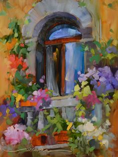"""Bello Balcony""  Colorful oil paintings of France and Italy by Artist Dreama Tolle Perry #OilPaintingItaly"