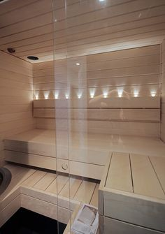 Sauna with glass wall