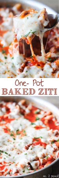 One-Pot Baked Ziti - no jarred spaghetti sauce and ready in just thirty minutes!