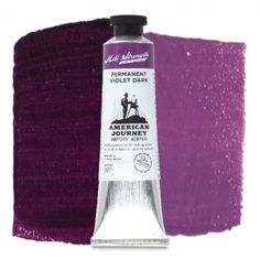 American Journey Artists' Acrylic, Permanent Violet Dark, is a strong, bold purple that may be used to paint petals on lilacs or dark streaks in an evening sky. Available in a 60 ml. tube. #ArtSupplies #AcrylicPainting #Acrylic