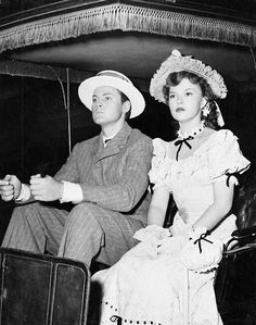 Shirley Temple and her first husband, John Agar, on the set of Adventure In Baltimore, 1949.