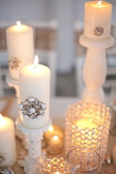 Costume jewelry wrapped around candles