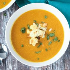 Sweet Potato Cauliflower Soup - a creamy vegan soup made with whole food ingredients and minimal fuss to let the vegetables shine.
