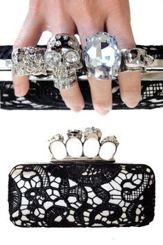 Black lace skull knucklebox clutch - So McQueen!  $64.95