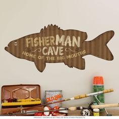 Fisherman Man Cave Wall Decal | Fishing Decor | RetroPlanet.com Add some fishing shack style to your walls with this Fisherman Corrugated Look Wall Sticker! This durable wall decal sports gorgeous colors and attention to detail. Perfect decor for any garage, man cave or game room, this removable wall decal applies in an instant and is easy to take off if you feel like a change.