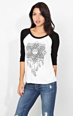 #FashionVault #styles for less #Women #Tops - Check this : Celestial Dreamcatcher Raglan - MED - Ivory Combo in Size Medium by Styles For Less for $11 USD