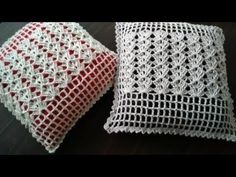 ALMOFADA EM CROCHÊ LEQUE EM RELEVO - YouTube Knit Pillow, Crochet Cushions, Crochet Videos, Learn To Crochet, Free Crochet, Hand Embroidery, Pillow Covers, Projects To Try, Crochet Patterns
