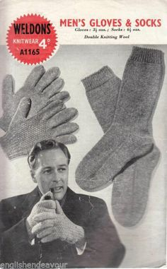 Weldons A1165 DK Men's Gloves & Socks Vintage Knitting Pattern