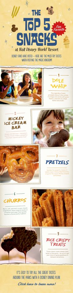 From delicious Dole Whips to Mickey-shaped soft pretzels, having a Disney Dining Plan makes it easy to try all these great tastes from around the Walt Disney World Resort! It's not a Disney trip without a churro! Disney World Food, Disney World Planning, Walt Disney World Vacations, Disney Travel, Disney Destinations, Disney Worlds, Disneyland Trip, Disney World Tips And Tricks, Disney Tips