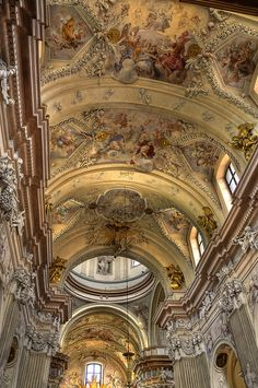 Baroque architecture inside St Anna's Church, Krakow, Poland