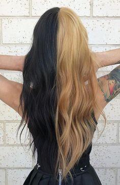 Half Black Half Blonde Hair hair 2020 20 Trending Black Hairstyles for Women in 2020 Two Color Hair, Hair Color Streaks, Hair Color For Black Hair, Black Hair Edges, Black Hair Blonde Streak, Dyed Black Hair, Blonde Streaks, Black And Blonde, Purple Hair