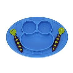 Whale 5 PC Silicone Dinnerware Baby Place Mat Cup Flatware Bowl Bib Fork and Spoon Anti Slip Easy to Clean Kids Placemat Fun Animal Shapes and Colors 5 Piece Set Blue