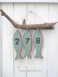 Numéro de maison poissons en bois