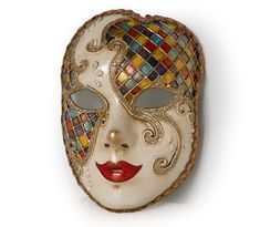 Full Face Venetian mask - Volto Mask with Harlequin Pattern - - Top Win Space Clowns, Mascaras Halloween, Halloween Face Makeup, Costume Venitien, Harlequin Pattern, Harlequin Mask, Venice Mask, Ceramic Mask, Full Face Mask