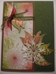 Hier nog een paar creaties voor de inspiratie.......... Betreffende kaarten zijn weer gemaakt met de prachtige stempels van IO, de Damask F...