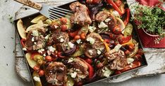This easy mediterranean lamb tray bake takes only 20 minutes to prepare and is a great option to warm you up on those chilly nights. Tray Bake Recipes, Lamb Recipes, Meat Recipes, Dinner Recipes, Cooking Recipes, Healthy Recipes, Savoury Recipes, Quick Recipes, Summer Recipes