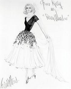 Fashion illustration by Edith Head - 1954 - for Grace Kelly as 'Lisa Carol Fremont' in Rear Window