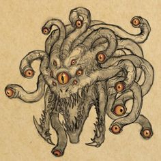 [ART] I've always thought Beholders looked kind of derpy. This is my attempt at rectifying that. : DnD