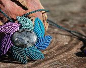 blue flower macrame necklace with jasper