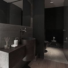 """Black bathroom statement ✔️ great use of textures and just a touch of white. #blackbathroom #tilesgalore #basinenvy #stylish #minimalism #modern"" Photo taken by @designmodeau on Instagram, pinned via the InstaPin iOS App! http://www.instapinapp.com (02/03/2015)"
