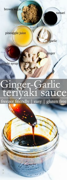 Tangy, sweet, salty and oh so simple to make! Ginger-Garlic Teriyaki Sauce is freezer friendly and a condiment to keep on hand to whip up easy week night stir fries! Vegan Dessert Recipes, Delicious Vegan Recipes, Whole Food Recipes, Cooking Recipes, Yummy Food, Savoury Recipes, Free Recipes, Healthy Recipes, Gluten Free Teriyaki Sauce