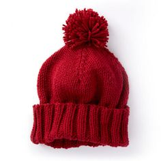 Caron Basic Family Knit Hat in color Baby Knitting Patterns, Loom Knitting, Knitting Socks, Free Knitting, Cowl Patterns, Knitting Daily, Knitting Basics, Kids Knitting, Square Patterns