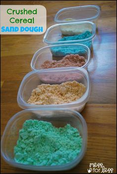 Crushed Cereal Sand Dough - This simple sensory recipe uses just a few ingredients and is so much fun to play with. Kids love the soft and moldable texture.