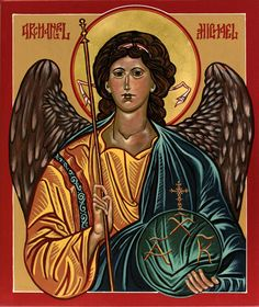 Archangel Michael, August, by Odarka Byzantine Icons, Archangel Michael, Disney Characters, Fictional Characters, Behance, Disney Princess, Drawings, Artwork, Movies
