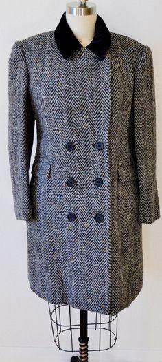 Vintage Tweed Coat / Jacket. Double Breasted Coat. Black Jacket. Grey Coat. Winter Coat. Warm Coat. by fashionneverfades on Etsy