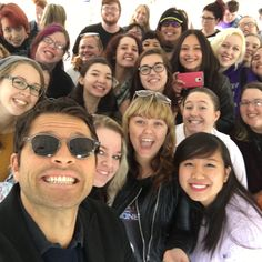 Misha CollinsVerified account @mishacollins   My fellow citizens & I had a great talk about the importance of voting. Now I'm off to Cedar Rapids. Meet me at 11:15 @ the Blue Strawberry!