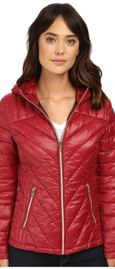 Jessica Simpson Hooded Packable Jacket (Wine) Women's Coat - Jessica Simpson, Hooded Packable Jacket, JOHMP055-605, Apparel Top Coat, Coat, Top, Apparel, Clothes Clothing, Gift, - Street Fashion And Style Ideas