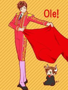 Spain the Madador and Chibi Romano the Bull el toro Hetalia Funny, Hetalia Fanart, Spamano, Usuk, Kawaii, Chibi, Bad Touch Trio, Hetalia Axis Powers, Kaichou Wa Maid Sama