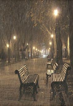 No one is walking in the park this rainy night. The glowing park lights are really pretty. Rainy Dayz, Rainy Night, Walking In The Rain, Singing In The Rain, Foto Picture, I Love Rain, Rain Storm, Sound Of Rain, Rain Umbrella