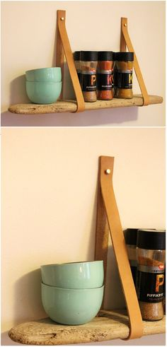 DIY - Driftwood shelf with leather suspension